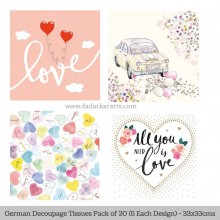 All you need German Tissue Pk/20 (5 Designs Each) 33x33cms By Ambiente Luxury papers
