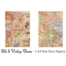 Old & Vintage Bloom Pack of 2 Rice Paper A4 By Get Inspired