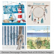 To the Beach German Tissue Pk/20 (5 Designs Each) 33x33cms By Ambiente Luxury papers