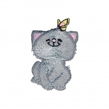 Iron-On Applique Cat With Butterfly Wrights