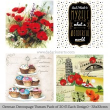 Assorted German Tissue Pk/20 (5 Designs Each) 33x33cms By Ambiente Luxury papers