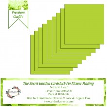 "Natural Leaf 12""x12"" The Secret Garden Cardstock For Flower Making Pack of 10 Sheets"