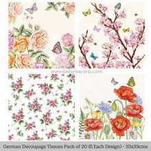 Floral 1 German Tissue Pk/20 (5 Designs Each) 33x33cms By Ambiente Luxury papers