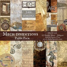 Mech Inventions Paper Pack By Get Inspired - 12x12inch 12 Sheets