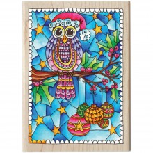 "Mounted Rubber Stamp Christmas Owl Color Me  3.5""X5"""
