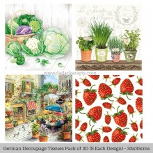 Healthy Treat German Tissue Pk/20 (5 Designs Each) 33x33cms By Ambiente Luxury papers