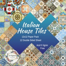 Italian House Tiles 12x12inch Paper pack 12 Double Sided Sheets