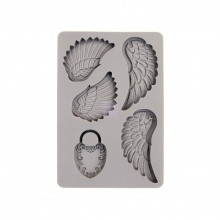 "Silicone Mould Wing & Locket 6""x4"" By Prima"