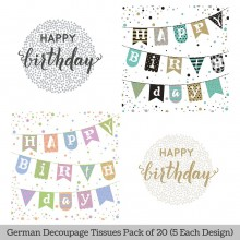 Happy Birthday German Tissue Pk/20 (5 Designs Each) 33x33cms By Ambiente Luxury papers