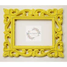 "Deco Yellow Vine Carved Vintage Rectangle Frame 10""x8"""