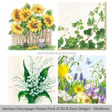 Sunkissed German Tissue Pk/20 (5 Designs Each) 33x33cms By Ambiente Luxury papers