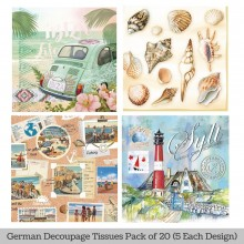 Ibiza Moments German Tissue Pk/20 (5 Designs Each) 33x33cms By Ambiente Luxury papers