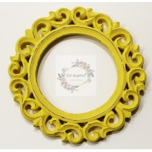 "Deco Yellow Vine Carved Vintage Round Frame 9""x9"""