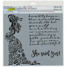 "Stencil Crafter's Workshop Template 12""X12"" - She Said Yes"