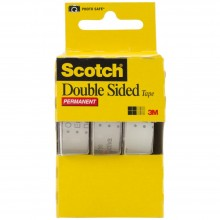 "Scotch Permanent Double-Sided Tape .5""X250"" 3/Pkg"