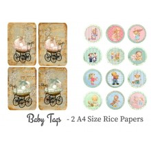 Baby Tags Pack of 2 Rice Paper A4 By Get Inspired