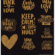 "Gold Foiled Black & White I Miss You Chipboards 8""x8"" Pack of 2"