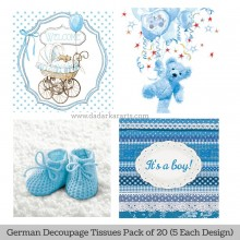 Baby Boy German Tissue Pk/20 (5 Designs Each) 33x33cms By Ambiente Luxury papers