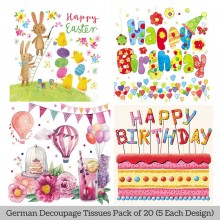 Happy Moments German Tissue Pk/20 (5 Designs Each) 33x33cms By Ambiente Luxury papers