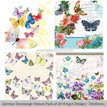 Butterflies German Tissue Pk/20 (5 Designs Each) 33x33cms By Ambiente Luxury papers