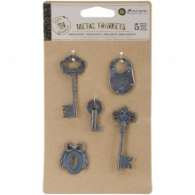 Metal Patina Trinkets Keys Prima Marketing 5/Pkg