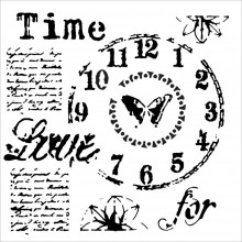 "Stencil Crafter's Workshop Template 12""X12"" - Time For Love"