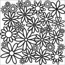 "Stencil Crafter's Workshop Template 6""X6"" - Daisy Cluster"