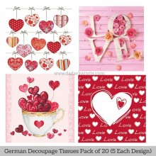 Lovable German Tissue Pk/20 (5 Designs Each) 33x33cms By Ambiente Luxury papers