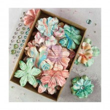 "Melange With Gems Prima Boxed Flowers  1.5"" - 2.25"" 76/Pkg"