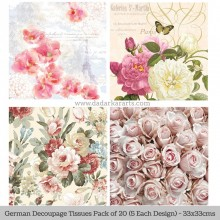 Floral 3 German Tissue Pk/20 (5 Designs Each) 33x33cms By Ambiente Luxury papers