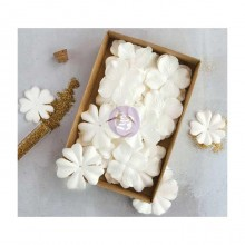 "Purity W/Glitter 1.5"" - 2.25"" 36/Pkg Prima Boxed Flowers"