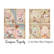 European Teaparty Pack of 2 Rice Paper A4 By Get Inspired