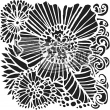 "Stencil 12""X12"" Crafter's Workshop Template -  Dahlia blooms"
