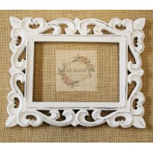 "Deco White Vine Carved Vintage Rectangle Frame 10""x8"""
