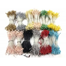 Assorted 2mm Head Size Flower making Stiff Thread Pearl Pollens -11 Colors