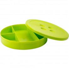 "Storage Box Lime Button Shaped 9"" Lime"