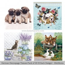 Pups & Pets German Tissue Pk/20 (5 Designs Each) 33x33cms By Ambiente Luxury papers