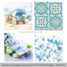 Blues German Tissue Pk/20 (5 Designs Each) 33x33cms By Ambiente Luxury papers