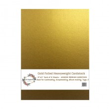 "Gold Foiled Heavyweight Cardstock 9""x12"" Pack of 6 Sheets - 400GSM"