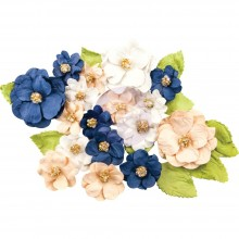 Morgan Prima Marketing Georgia Blues Mulberry Paper Flowers 28/Pkg