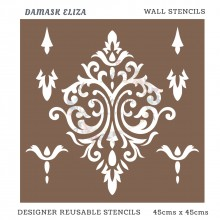 Damask Eliza Home Decor Designer Reusable Stencil 45cmsx45cms