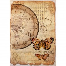 Mixed Media Clock & Butterfly Stamperia Rice Paper Pack A4