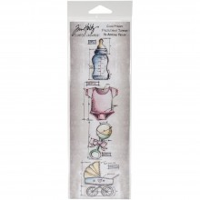 "Tim Holtz Mini Baby Blueprints Strip Cling Stamps 3""X10"""
