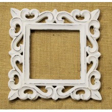 "Deco White Glossy Finish Vine Carved Vintage Square Frame 7""x7"""