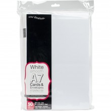 "Heavyweight White A7 Cards With Envelopes (5.25""X7.25"") 50/Pkg"