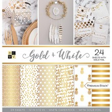 "Gold & White, 12 Designs/2 Each DCWV Single-Sided Cardstock Stack 12""X12"" 24/Pkg"