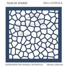 Tiles of Stones Home Decor Designer Reusable Stencil 35cmsx35cms
