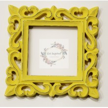 "Deco Yellow Vine Carved Vintage Square Frame 8""x8"""