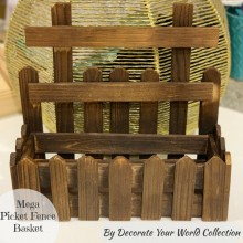 "Mega Picket Fence Wooden Basket 12.5""x 5""x 11.5"" by Decorate Your World Collection By Get Inspired"
