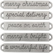 Antique Nickel Christmas Idea-Ology Metal Word Bands 5/Pkg